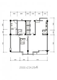 3室2厅4卫 户型图