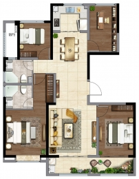 4室2厅2卫 户型图