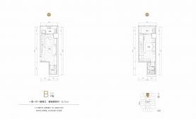 1室1厅2卫 户型图