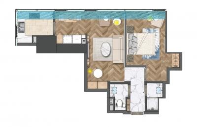 2室1厅1卫 户型图
